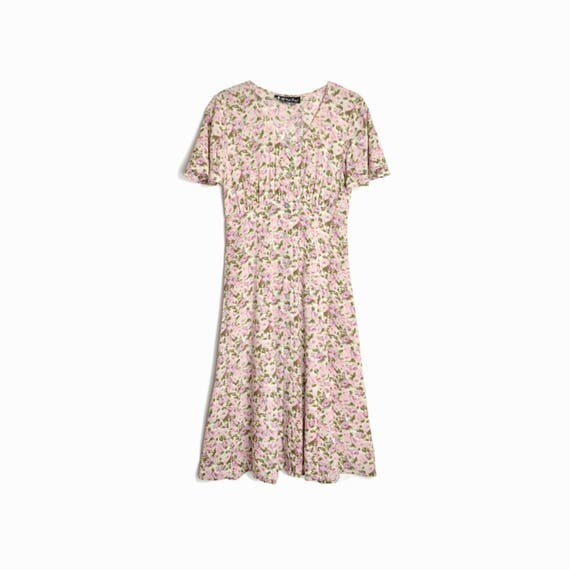 90s Vintage Floral Sundress in Pink & Cream / Hippie Dress / Festival Dress - women's small