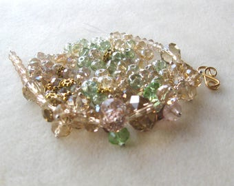 Light Topaz and Green Glass Crystal Beads, Jewelry Making Beads, Necklace Kit, Bead Combo, DIY Jewelry Kit, Necklace Design,  Gold Findings