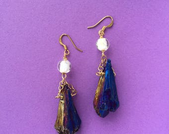 Unicorn Rainbow Purple Quartz Titanium Glow in the Dark Bead Earrings