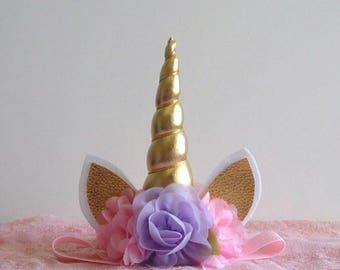 First Birthday Unicorn Headband - Lavender - Pink - Gold - Gold Horn - Unicorn Headband - Newborn - Large Horn