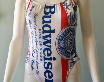 NWT 1980s Vintage Budweiser high cut one piece swimsuit Size 11