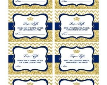 Prince Baby Shower Diaper Raffle Cards, Printable PDF