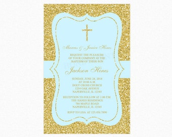Baptism Invitation, Christening Invitation, Cross, Baby Blue, Faux Gold Glitter, Personalized, Printable or Printed