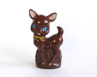 Vintage 1960s Cute Brown Ceramic Deer Figurine