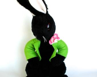 Vintage 1960's Eden Toys Black Bunny Rabbit Plush Doll!
