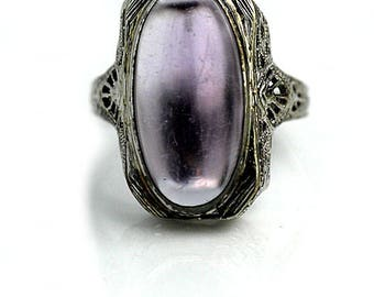 Antique Synthetic Amethyst Ring Art Deco 1930 14K White Gold Vintage Amethyst Cocktail Engagement Ring Gemstone Ring February Birthday