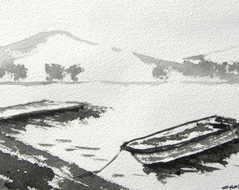 Morning On The Lake - Original Ink Painting