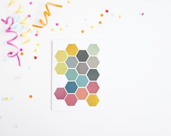 Geometric Greetings Card, Modern Pattern Card, Anniversary Card - Honeycomb II