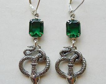 MEMORIAL DAY SALE Silver & Emerald Serpents // Gold Plated Snake Earrings with 1950s Emerald Swarovski Crystals Egyptian Revival Art Deco Fl