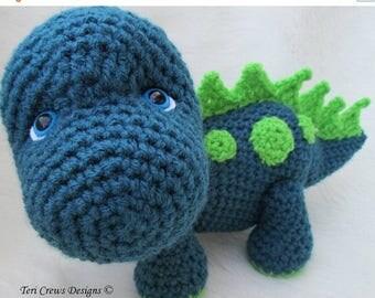 Summer Sale Crochet Pattern Dinosaur by Teri Crews Instant Download PDF Format Crochet Toy Pattern