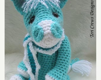 Summer Sale Crochet Pattern Cute Horse by Teri Crews Wool and Whims Instant Download PDF Format