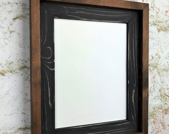 85 x 11 black weathered picture frame wooden frame stacked and stained - Wooden Photo Frames
