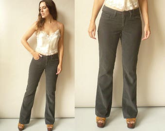 1990's Levis's Charcoal Black Corduroy Jeans Flares Bell Bottoms Size Small