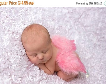 ON SALE Pink/ Rose Newborn Feather Wings, Angel Wings, Newborn Photography Prop, Baby Wings