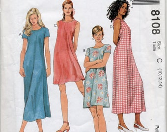 Misses' Pullover Dress in Two Lengths Sewing Pattern - 1 Hour Dress - McCall's 8108 - Sizes 10, 12, 14 - UNCUT