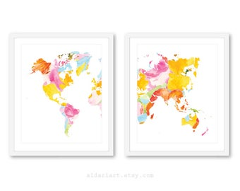 World Map Art Prints - Set of 2 Prints - Modern Map Wall Art