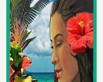 Wahine (Polynesian Card Line) Original Illustration by Connie Troupe