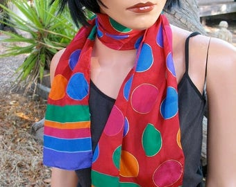 15 % off FABULOUS  80s Jewel Tone Liz Claiborne Designer Silk Oblong Scarf
