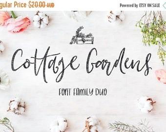 Digital Fonts, 80% Off SALE Cottage Gardens, Script Font, Fonts duo, Wedding Font, Hand drawn, modern Calligraphy, Digital Font