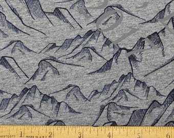 Navy Blue and Heathered Grey Mountain 4 Way Stretch FRENCH TERRY Knit Fabric, For The Boys for Club Fabrics