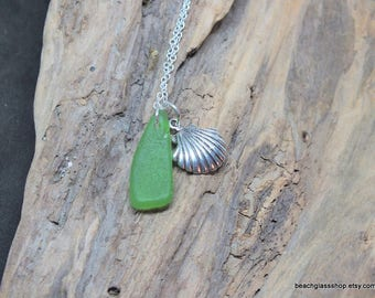Green Sea Glass Necklace - Lake Erie Beach Glass Jewelry - Mermaid Tears Necklace - Beach Charm - FREE Shipping inside the US