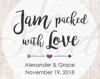 Jam Wedding Favor Stickers, Jam Packed With Love Stickers, Spread The Love Stickers, Jam Wedding Favors, Wedding Stickers - Set of 24
