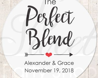 Wedding Favor Stickers, The Perfect Blend Sticker, Wedding Coffee Favor Label Sticker, Wedding Favor Ideas, Tea Favor Sticker - Set of 24