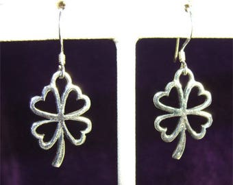 Sterling Silver Four Leaf CLOVER Shamrock Earrings on FRENCH Wires