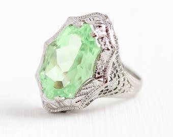 Vintage Filigree Ring - 14k White Gold Light Green Fancy Cut Glass Stone - 1920s Size 5 Art Deco Statement Flower Milgrain 20s Fine Jewelry