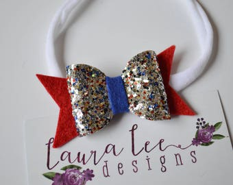 READY TO SHIP, Red White and Blue Chunky Glitter Bow Nylon Headband, Sparkle Bow, Toddler, Infant, First Birthday, Military Homecoming Bow