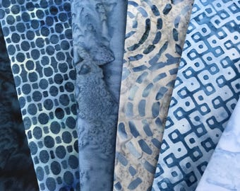 Dusky Blue Batik Fabric Bundle