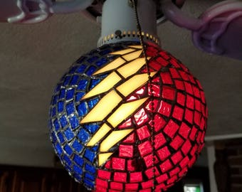 Grateful Stealie Bolt Stained Glass Globe Light Covering.