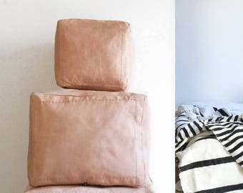 Moroccan Natural Leather Pouf - Small Squared