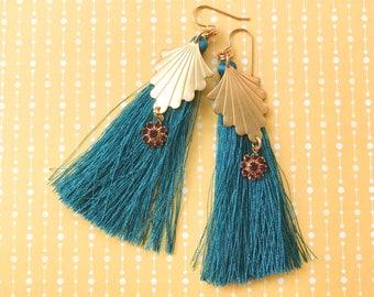 Dark Teal Blue Gold Brass Silk Tassel Earrings Purple Rhinestone Dangle Earrings Boho Chic Glam Bohemian Gypsy Aqua Long Statement Earrings