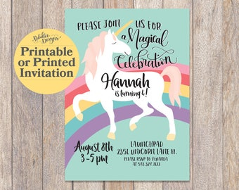 Printable Unicorn Invitation, Rainbow Unicorn Birthday Invitation, Unicorn Birthday Invitation, Magical Unicorn Party, Unicorn Invite