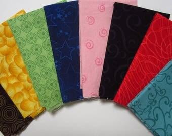 8 Assorted Cotton Fabric Scraps, Fat Sixteenths, Calico Stash Builder, Destash, Quilting, Sewing