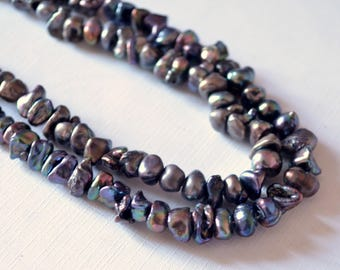 Peacock Keshi Pearls, Center Drilled Keishi Pearls, Real Purple Black Pearls, Thick, Freshwater Pearls, 8mm, Full 16 inch Strand