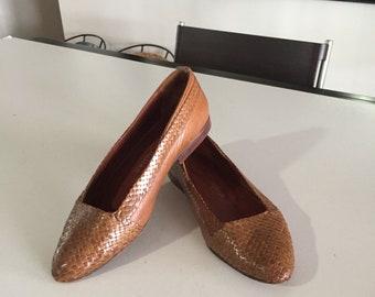 Stephane Kelian Brown Woven Leather Shoes Womens / Vintage Kelian Shoes Paris/ By Gatormom13
