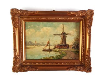 Antique Dutch Oil on Board Painting /  Signed Framed Vintage Windmill Waterscape in Original  Gesso Wood Frame/ Sailboats and Windmill