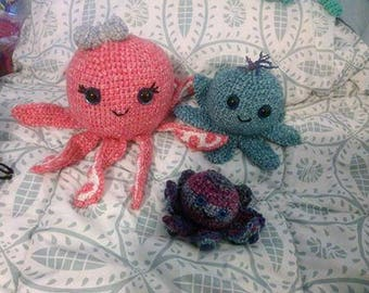 Crochet Stonewash octopus with sparkle eyes READY TO SHIP
