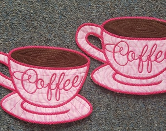 Coffee Mug Rugs - Pink Coffee Cups - set of 2