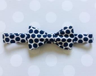 Boys Navy Bow Tie - Navy Bow Tie - Blue Bowtie - Boys Outfits - Polka Dot Bow Tie - Navy and White Polka Dot