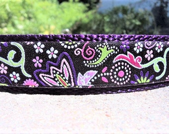 "Dog Collar,Purple Paisley 1"" or 3/4"" wide side release buckle / see 1.5"" listing/ no martingale limited ribbon"