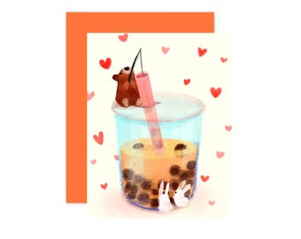 Boba With Animals Card