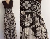 """1970's Brown Polyester Top & Cotton Floral Bottom Dress Maxi Floor Length Dress Size Large 30"""" by Maeberry Vintage"""