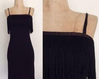 30% OFF 1960's Black Jonathan Logan Wool Wiggle Dress w/ Fringe Bust Size XXS XS Petite Vintage Dress by Maeberry Vintage