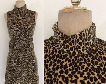 30% OFF 1980's Velvet Leopard Print Mini Dress