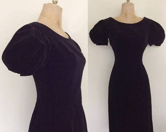 20% OFF 1960's Velvet Wiggle Dress with Exaggerated Puff Sleeves Size XS Small by Maeberry Vintage