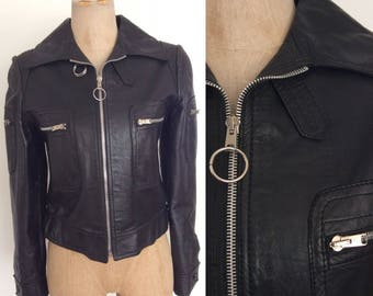 1970's Black Leather O Ring Jacket Cropped Vintage Metal Zipper Jacket Size Small by Maeberry Vintage