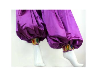 Aladdin Genie Pants, Fuchsia Satin with Chenille Paisley Trim, Adjustable High Waist 26 - 32 inches, Harem Balloon Pants, Hippie Boho Gypsy